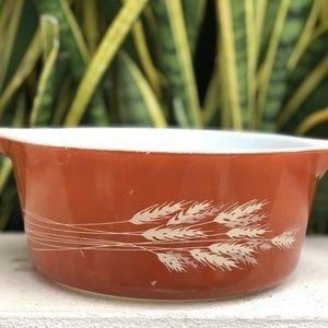 Vtg Pyrex Autumn Harvest 475 Casserole Rust Red